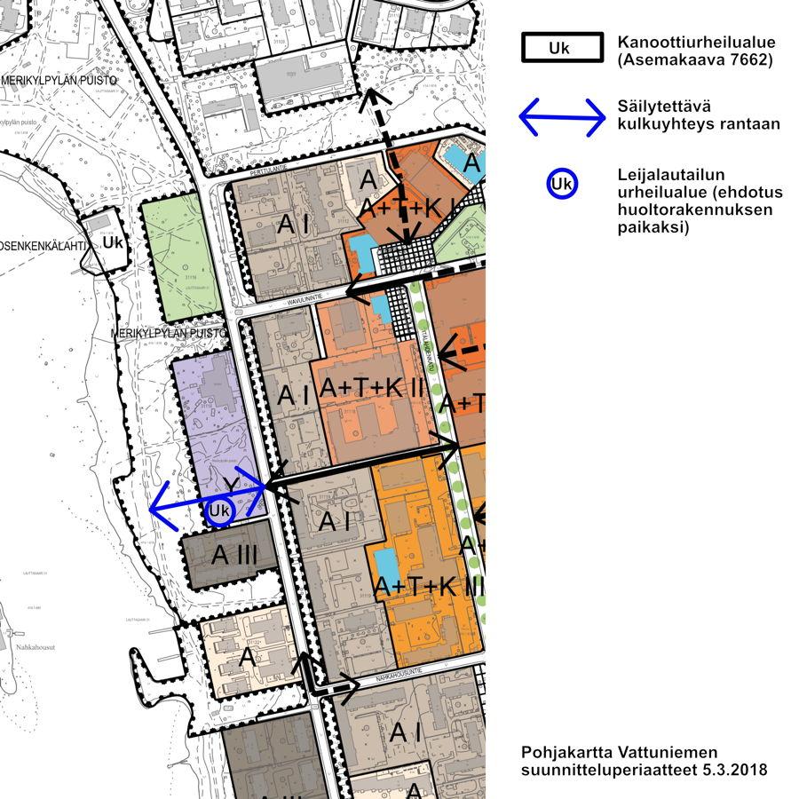 Liite 1. Ehdotus säilytettävästä kulkuyhteydestä ja huoltorakennuksen paikasta Särkiniementie 24, 00210 Helsinki